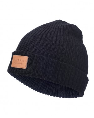 SIMPLE BADGE BEANIE - BLACK
